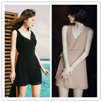 TE1291GJWL Korean fashion elegant temperament slim waist belt dress
