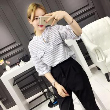 TE140YEHG Loose slim stripes pullover shirt