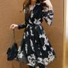 TE2207ALFS Fashion vintage flower print chiffon cardigan/dress
