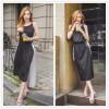 TE2209ALFS Color matching drawstring waist slim vest dress