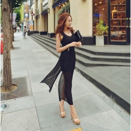 TE2212ALFS Sexy slim slit fake two piece tight hip dress