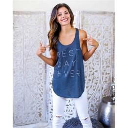 TE2280XYD Letters print arc hem slim sexy sleeveless t-shirt