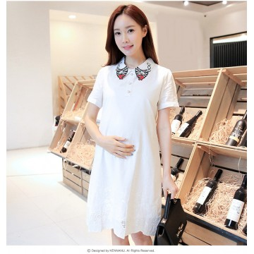 TE2592YZFZ Fashion embroidery maternity dress