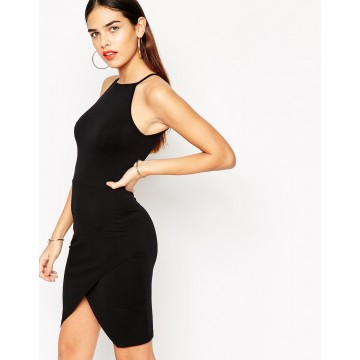 TE2723XYD Europe fashion sexy slim irregular tight hip halter dress
