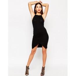 TE2723XYD Europe fashion sexy slim irregular tight hip halter dress