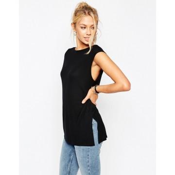 TE2725XYD Europe fashion side slit backless sleeveless t-shirt