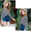 TE3024YZS Europe fashion vertical stripes v neck joker shirt
