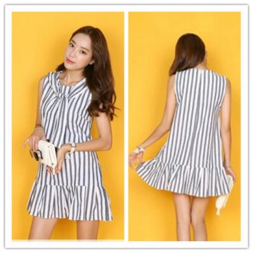 TE3025YZS Blue and white stripes bowknot preppy style fresh flouncing hem dress