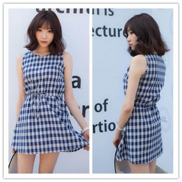 TE3028YZS Preppy style vintage checks cute slim waist dress