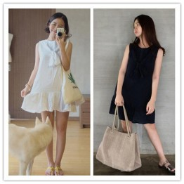 TE3029YZS Sleeveless bowknot loose large size ramie cotton dress