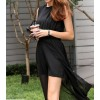 TE3030YZS Fake two piece chiffon forked tail sexy transparent split up tight hip dress