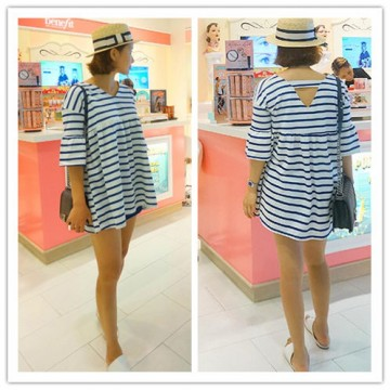 TE3031YZS Loose A-line backless stripes maternity dress