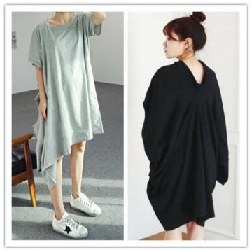 TE3032YZS Korean fashion irregular dissymmetry trendy loose t-shirt