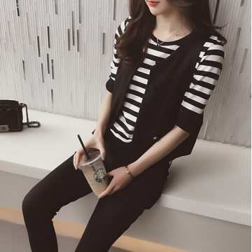 TE3163BDKJ Spring fashion slim stripes t-shirt and vest and pants three pieces