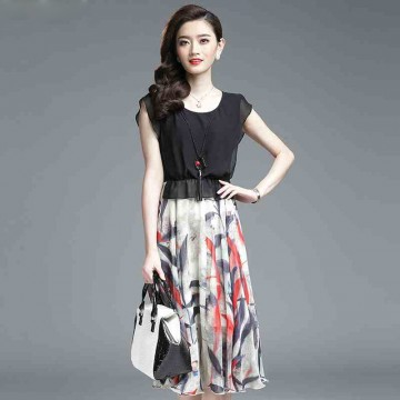 TE3175BDKJ New style print splicing A-line chiffon dress