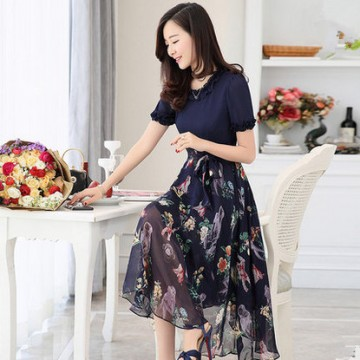 TE3176BDKJ New style print chiffon wide hem long dress