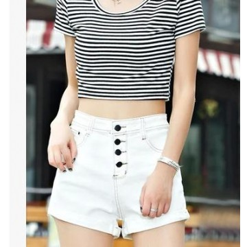 TE5029DDFS Hot sale four buttons slim roll off denim shorts