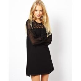 TE5547DFYL Sexy lace splicing chiffon loose large size maternity dress