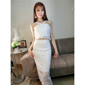 TE5839YFFS Sexy midriff cross gallus backless tassel lace tops with skirt