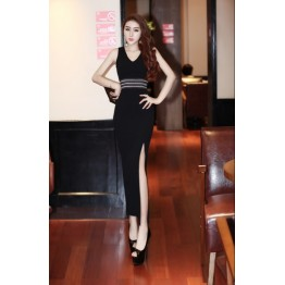 TE5861YFFS Fashion V neck wave pattern slim waist slit sleeveless maxi dress