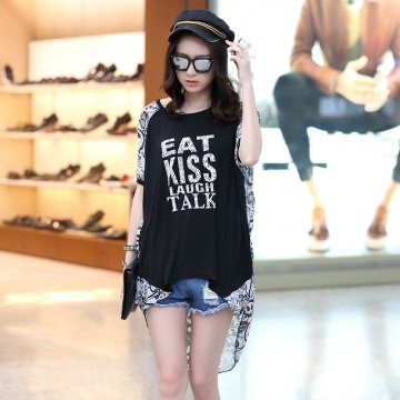 TE6011AYY Letters print chiffon splicing back loose large size t-shirt