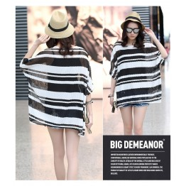 TE6012AYY Fat girl loose large size two pieces stripes t-shirt
