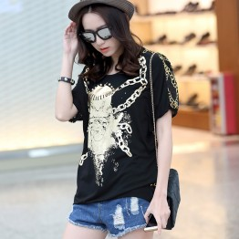 TE6013AYY Fat girl loose large size metal feel skull and chains print t-shirt
