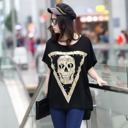 TE6015AYY Fat girl loose large size metal feel skull print t-shirt