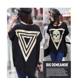 TE6015AYY Fat girl loose large size metal feel skull print t-shirt
