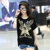 TE6016AYY Fat girl loose large size metal feel five point star print t-shirt