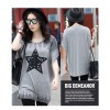 TE6020AYY Fat girl loose large size five point star applique print t-shirt