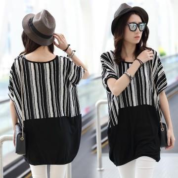 TE6025AYY Loose large size stripes splicing batwing sleeve t-shirt