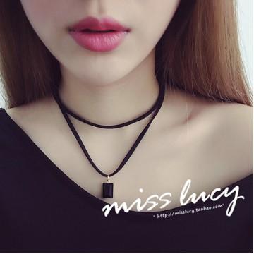TE627AJWL Simple velour leather square black diamond necklace