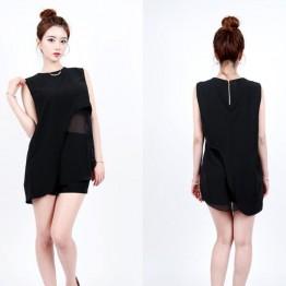 TE6394YZS Loose splicing transparent irregular sleeveless vest tops