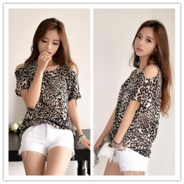 TE6396YZS Korean fashion sexy large size leopard off shoulder t-shirt