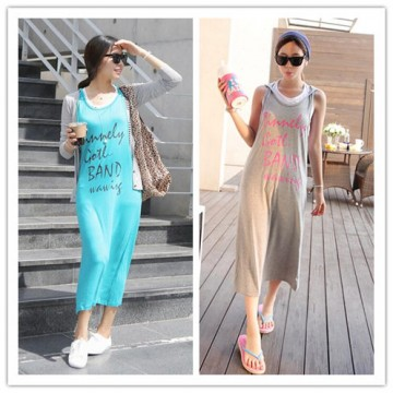 TE6397YZS Fashion letters print personality sleeveless dress with cap
