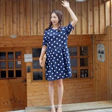 TE6400YZS Korean fashion sweet dot short sleeve dress