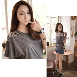 TE6403YZS Korean fashion batwing sleeve five-pointed star beads lace splicing t-shirt