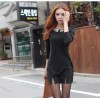 TE65081YWQS Fashion sequins collar slim dress