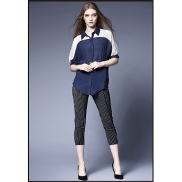 TE65122YWQS Europe fashion ramie cotton transparent sexy hollow out shoulder shirt