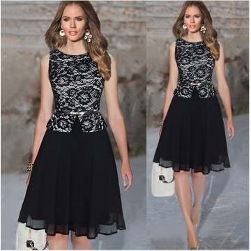 TE65124YWQS Hot sale fashion slim lace splicing dress