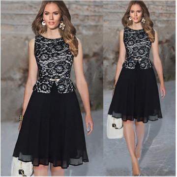 TE65124YWQS Hot sale fashion slim lace splicing dress