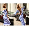 TE65125YWQS Hot sale stripes boat neck slim dress