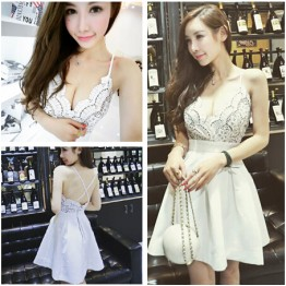 TE6518YZL Sexy debutant deep v neck lace flowers slim waist formal dress