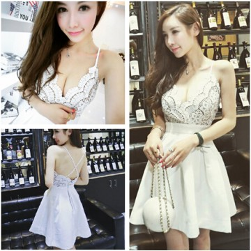 TE6518YZL Sexy debutant deep v neck lace flowers slim waist formal dress