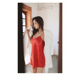 TE6523YZL Sexy pure color comfortable strap pajama dress