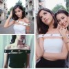 TE6530YZL Thailand trendy unique metal button boat neck sexy tube top t-shirt​