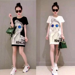 TE6605HXFS Sequins glasses girl print t-shirt dress