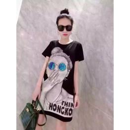 TE6605HXFS Sequins glasses girl print t-shirt dress