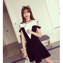 TE6606HXFS Gentlewomen temperament contact color v neck off shoulder dress
